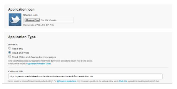 Twitter application access