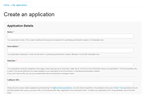 Twitter create application form